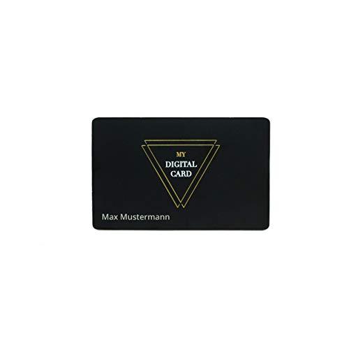 Digitale Visitenkarte mit Gravur - Sigma Card NFC/QR Code, mattschwarzes Metall (Klassik) inkl. eigener Website ohne monatliche Gebühr als digitales Profil und kostenloser App für iOS und Android