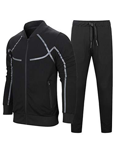 PASOK Men's Casual Tracksuit Set Long Sleeve Full-Zip Running Jogging Athletic Sweat Suits Black L