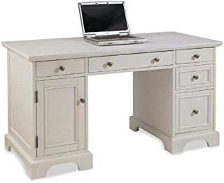 Home Styles Naples White Finish Pedestal Desk, With Drawer for Keyboard, Drawers for Legal or Letter Files, Computer Compartment