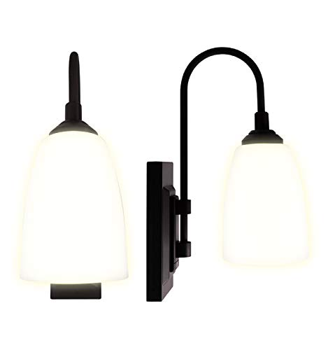 Westek Battery Operated Wall Sconce, 2 Pack – 4 Hour Auto Shut-Off Battery Wall Sconce, 100 Lumens – Plastic with Matte Black Finish – Battery Wall Light with Easy Install – 2 Light Settings