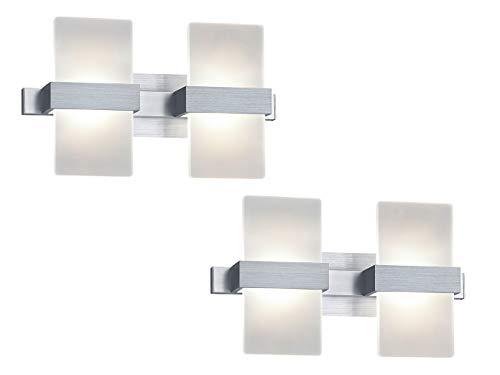 Lot de 2 appliques murales LED élégantes avec interrupteur - Mélange élégant de matériaux en aluminium brossé avec cache en verre acrylique - 30 x 18 cm
