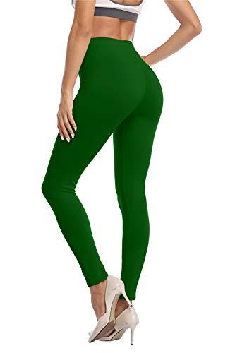 Kotii Women's High Waist Soft Full Length Leggings, Dark Green, Plus Size