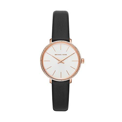Michael Kors Women's Pyper Stainless Steel Quartz Watch with Leather Strap, Black, 18 (Model: MK2835)