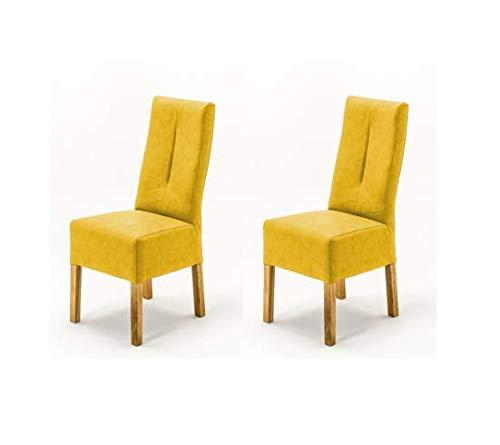 Robas Lund Stühle 2er Set Gelb Curry, Küchenstuhl mit Kunstlederbezug, Stuhlbeine Massivholz Eiche geölt, Stuhl Fabius