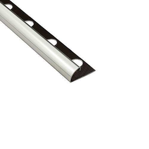 Viertelkreis Edelstahlschiene Fliesenprofil Fliesenschiene Edelstahl V2A L250cm 12mm glänzend