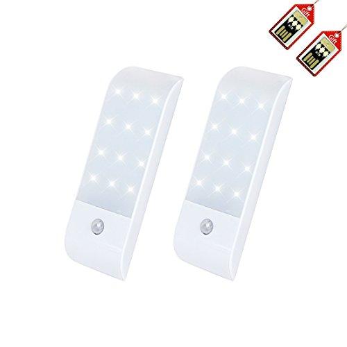 Motion Sensor Light, LED Wall Light Rechargeable Under-Cabinet Light Indoor Stick Anywhere Night Light for Bathroom Bedroom Cabinet Corridor Attic Stairway (Set of 2)