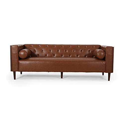 Christopher Knight Home Solomon Contemporary Tufted Deep Seated Sofa with Accent Pillows, Cognac Brown and Espresso