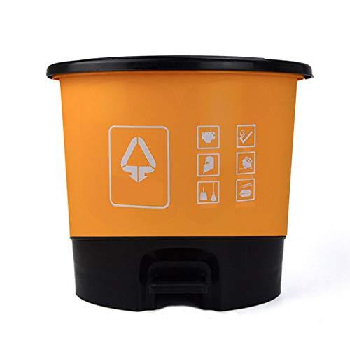 Bote de Basura Bote de Basura Redondo, Tocador de Cocina para el hogar con Desodorante de Tapa Bote de Basura, Pedal de plástico Tipo de clasificación de Basura Bote de Basura Humano Simple