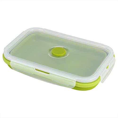 Fiambrera de silicona, contenedor portátil para el almuerzo, de silicona, plegable, portátil, plegable, contenedor de almacenamiento de alimentos, 800 ml (verde)