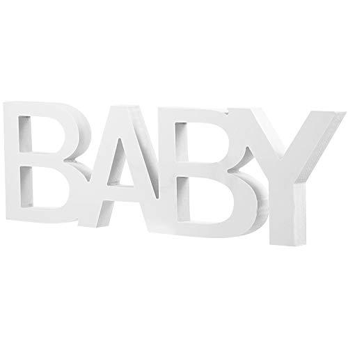 Letrero de Palabra de Baby Señal de Mesa de Letra Decoración de Señal de Mesa de Letra de Baby de Madera para Decoración de Casa Cumpleaños Boda Fiesta Baby Shower, Blanco