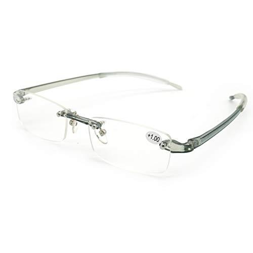 JEEDA Randlose Lesebrille Licht Herren Damen Brille Rimless Reading Glasses 620(grau,+1.00)
