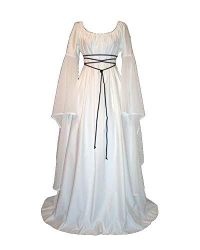 Liangzhu Vintage Halloween medieval retro Falda de talle alto de manga larga vestido de cóctel informal oscilación