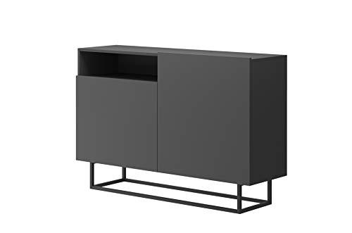 Furniture24 Kommode Enjoy EK120, Schrank, Wohnzimmerschrank, Anrichte, Mehrzweckschrank, Sideboard mit 2 Türen (Graphite)