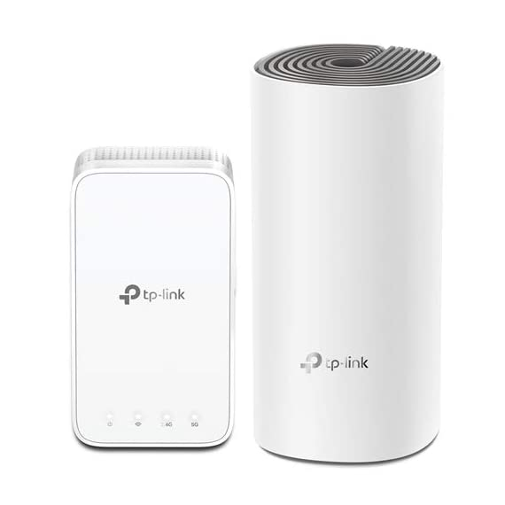 TP-Link Deco E3(2-Pack) AC1200 Whole Home Mesh WiFi System 1 Deco E3 uses both a Deco E4R and Deco M3W mesh range extender to achieve seamless whole-home WiFi coverage up to 2, 500 square feet.