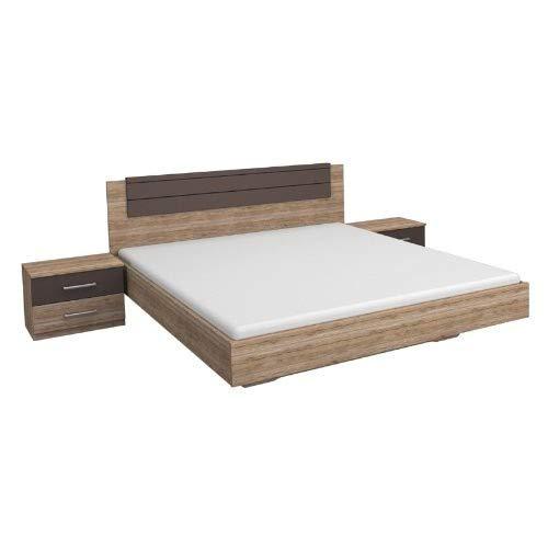 Rauch Möbel Barcelona Bett Doppelbett mit 2 Nachttischen, Eiche Sanremo hell / Lavagrau, Liegefläche 160x200 cm, Stellmaß Bett-Anlage inklusive Nachttische BxHxT 265x85x206 cm