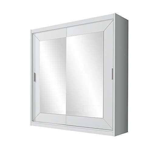Selsey ALFA – Schwebetürenschrank / Kleiderschrank 2-türig in Weiß mit Spiegel 200 cm