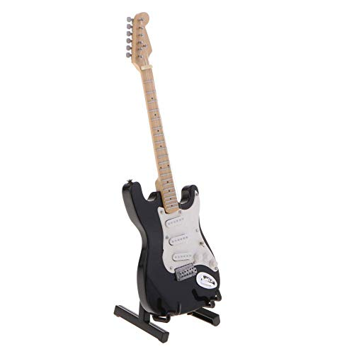 N\C 17cm simulación mini guitarra eléctrica con soporte modelo negro sala de música artículos decoración casa de muñecas miniatura guitarra juguete
