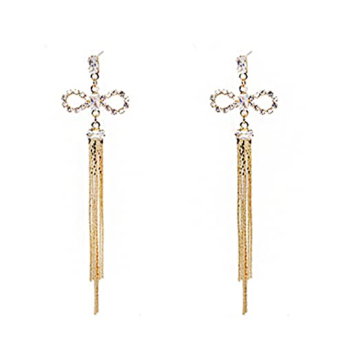 S925 Aguja de plata Chapado en oro real Bowknot Borla Pendientes de personalidad Temperamento Pendientes largos Pendientes de moda