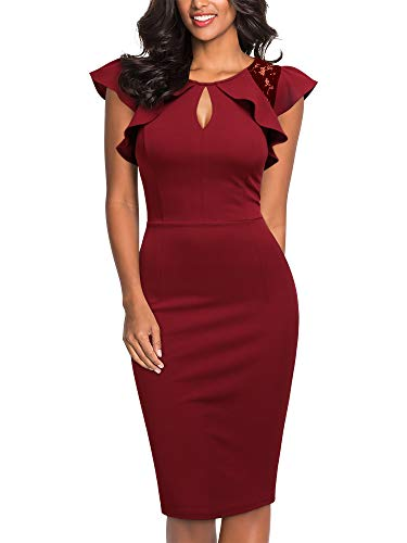 Knitee Women's Vintage Ruffle Trim Lace Floral Sleeveless Cut Out Bodycon Cocktail Sheath Formal Dress Dark Red