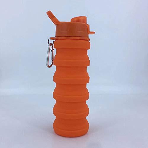 Food Grade Botella De Agua Plegable-Botella De Agua Plegable De Silicona Libre De BPA para Viajes,Portátil De Silicona De Grado Alimenticio a Prueba De Fugas para Viajes Botella de 550 ml