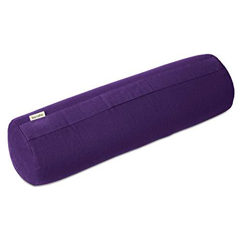 basaho Bolster Yoga | Algodón Orgánico (Certificación Gots) | Cáscara de Trigo Sarraceno | Funda Extraíble Lavable (Morado Intenso)