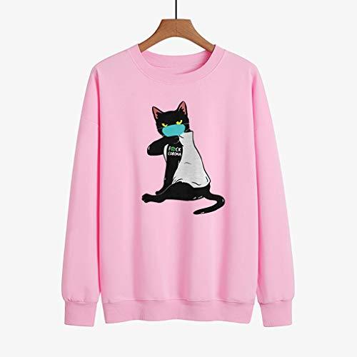 Sky Cloud Maglione della Mascherina di personalità di Divertimento, Black Cat Felpa con Stampa di E Donne degli Uomini, Tenere Lontano dalla VI-rus COV-ID 19 Felpa (Color : Pink, Size : XXL)