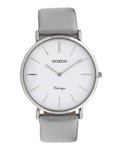 Oozoo Vintage Damenuhr mit Lederband 40 MM Weiß/Silberfarben C9960