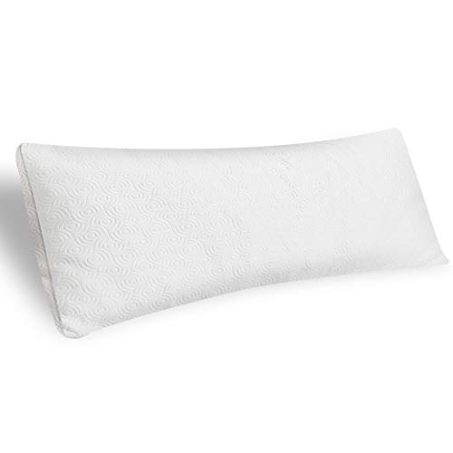 Almohada corporal ajustable de primera calidad, almohadas de espuma viscoelástica para adultos con almohada de fibra de bambú transpirable, se adapta a la funda de almohada corporal de 50 x 137 cm.