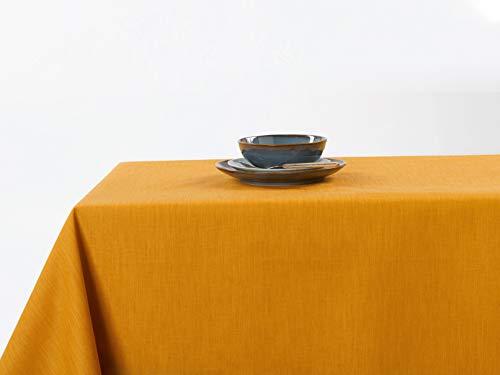 Linder tafelkleed, rechthoekig, polyester, mosterd, 150 x 300 cm
