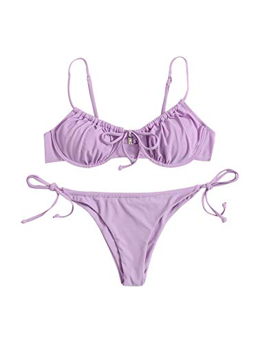 Floerns Women's Ruched Underwire Bra Top Tie Side Bikini 2 Piece Swimsuit Purple M