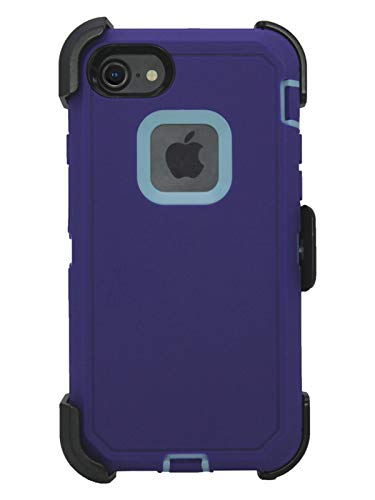 """Hand-e Muscle Case for Apple iPhone 8 / iPhone 7 /iPhone SE """"2020"""" (4.7"""") // Triple Layer Protective Defender w Screen Protector, Belt Clip, Holster, Kickstand // Shock, Drop Proof – Purple/Blue"""