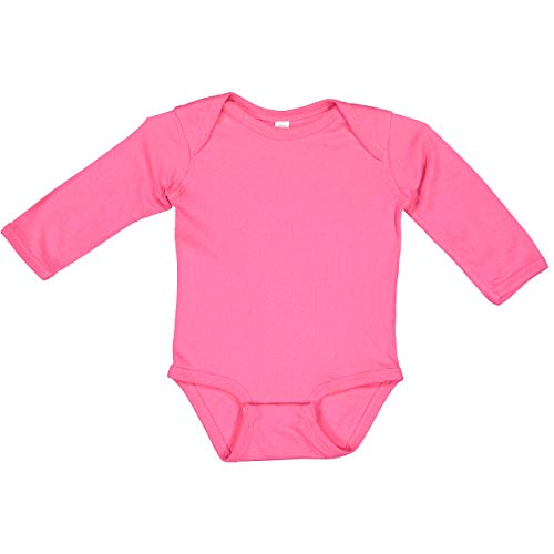 RABBIT SKINS, Baby Soft Cotton Long Sleeve Bodysuit, Hot Pink, 18 Months