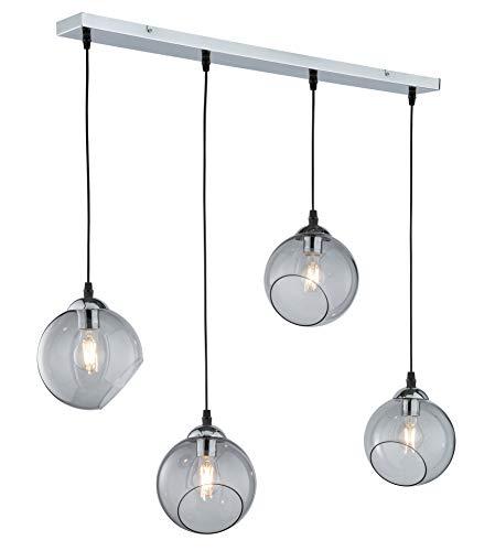 lampadario a sospensione 4 lampade Reality Leuchten Clooney - Lampadario a sospensione in metallo cromato e vetro