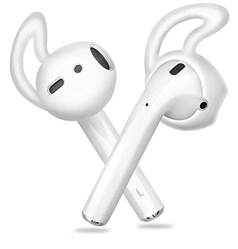 Ear Hooks Covers Accessories Tips Compatible with Apple Airpods EarPods Earphones Earbuds Headphones[Anti-Slip,Precise Cutouts ] 4 Pairs Clear by Lunies