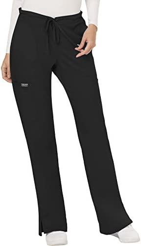 CHEROKEE Women s Mid Rise Moderate Flare Drawstring Pant Black X Large product image