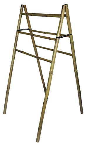 Toallero de bambú – 6 barras de armario – Natural – 130 x 64 cm