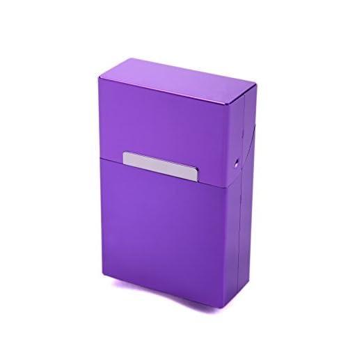 LK Trend & Style Scatola Porta Sigarette Metallo Alluminio Zigarettentui Pacchetto di Sigarette Scatola per Sigarette - Colori Multipli Selezionabile - Viola