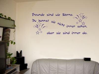 Wandtattoo / Wandaufkleber Zitat Freunde sind wie Sterne, …; Farbe Blau