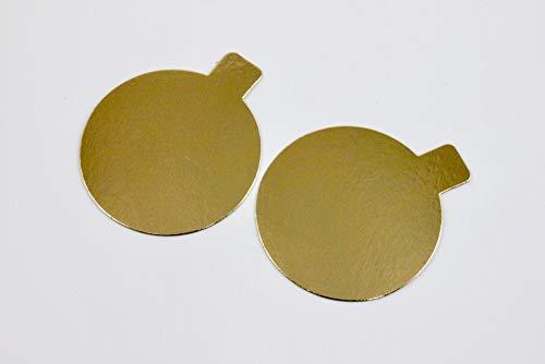 Goldene Tortenunterlage (ca. 8cm) für Törtchen in unterschiedlichen Ausführungen, Form:Rund, Menge:24 Stück