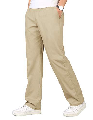 COOFANDY Leinenhose Herren Hosen Lang aus Baumwolle Leinen Stretch Große Tasche Atmungsaktiv Leichte Leinenhosen für Männer Khaki S