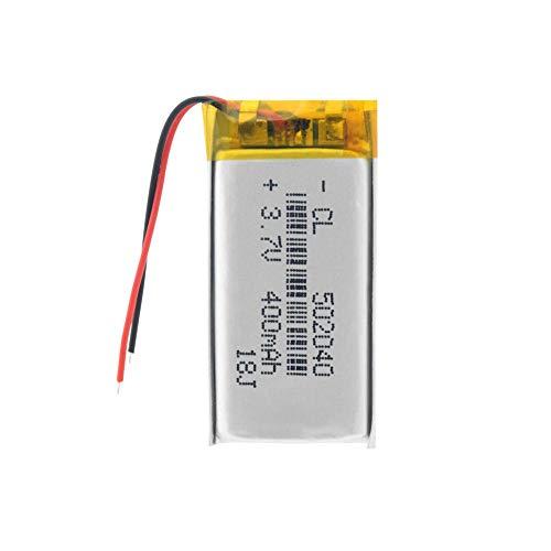 Dilezhiwanjuwu Batería Lipo Recargable de 400 mAh, 502040 Celdas de lipo, batería de polímero de Litio para GPS, MP3, MP4, Coche de Juguete, Altavoz BT
