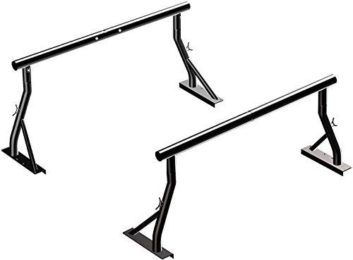 "TMS 800Ibs Capacity Extendable Universal Steel Pickup Truck Low Profile Ladder Rack Sport Bar Lumber Two bar Set (Patent Pending)(24"")"