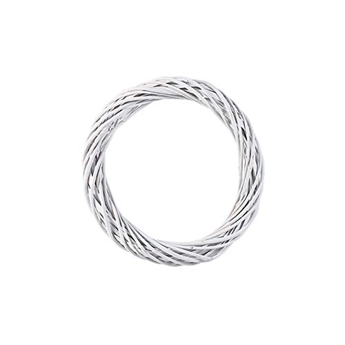 10-30CM Rattan Ring Wreath White Wreath Garland Hanging Vine Ring DIY Party Decorations Natural Ornaments Craft Accessories (Size : 25cm)