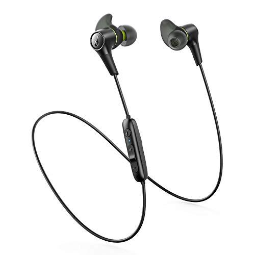 Anker Soundcore Spirit 2 Bluetooth Headphones, Deep Bass, IP67 Waterproof, Dustproof, Sweatproof, AirWings for Secure Fit, 14H Playtime, Wireless Earbuds for Gym, Running, Workout