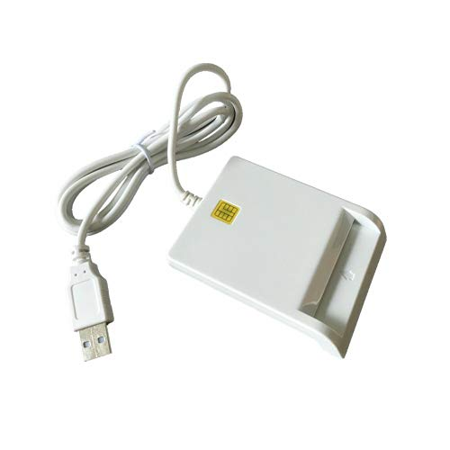 ISO7816 Contact Smart Card Reader DOD Military USB Common Access CAC, Compatible with Windows, Mac OS 10.6-10.10 and Linux System (White)