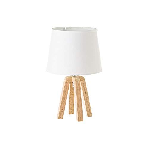 Lámpara de mesita de noche nórdica de madera de roble beige de 34x21x21 cm