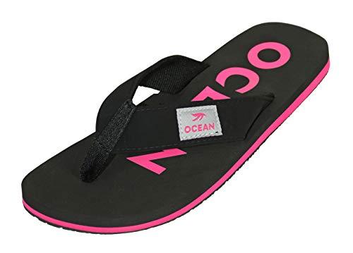 MADSea Damen Herren Zehenstegpantolette Ocean Zehentrenner Sandale schwarz Fuchsia pink, Größe:40 EU, Farbe:Schwarz/Pink