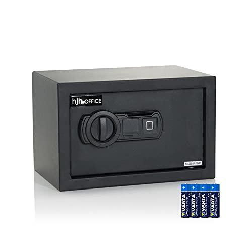 hjh OFFICE Caja fuerte con sensor de huellas dactilares, 8,5 L, acero, negro, doble perno 20 x 31 x 20 cm, incluye pilas