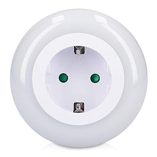 Grundig LED Nachtlicht Orientierungslicht rund - Zwischenstecker mit Helligkeitssensor - Steckdosenlampe zur Orientierung in Flur Keller Treppenhaus