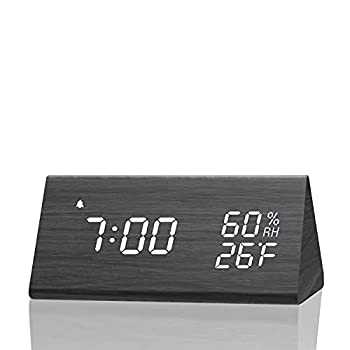 Digital Alarm Clock with Wooden Electronic LED Time Display 3 Alarm Settings Humidity & Temperature Detect Wood Made Electric Clocks for Bedroom Bedside…  Black